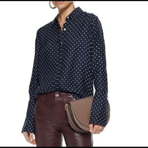FRAME Polka Dot Navy Silk Crepe Blouse Large